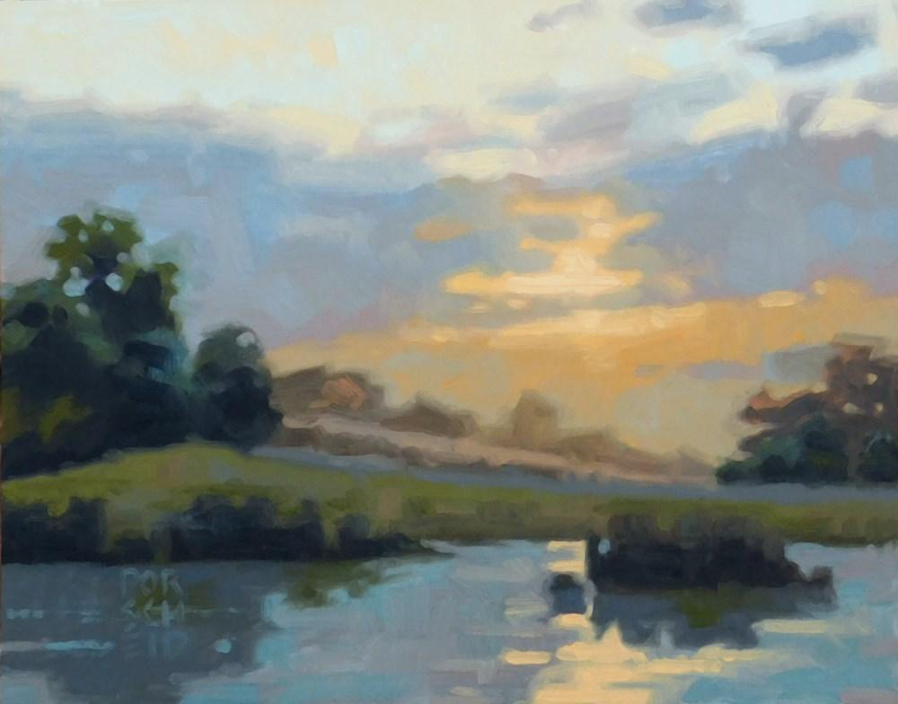 """Yelllow Sky Reflecting"" original fine art by Les Dorscheid"