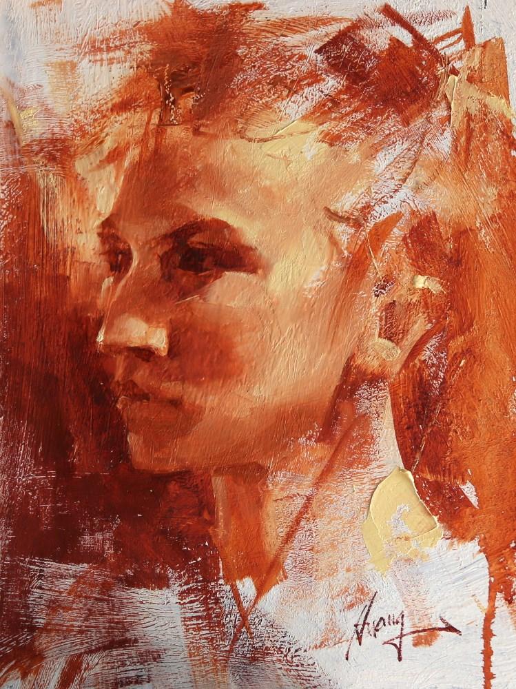 """""Head Study 081217"" original fine art by Qiang Huang"