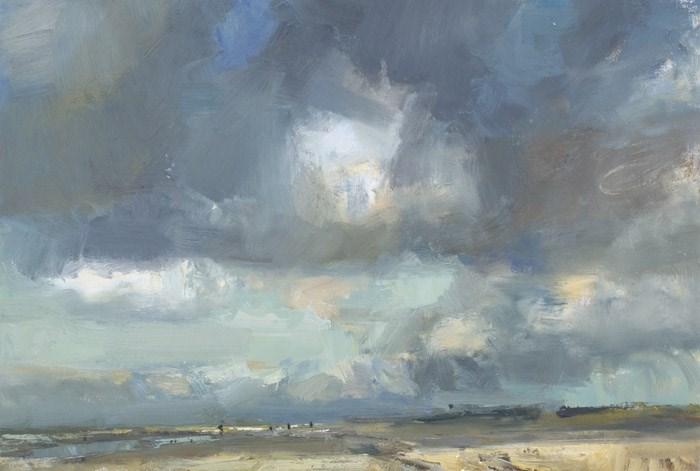 """Big Seascape Clouds in Autumn"" original fine art by Roos Schuring"