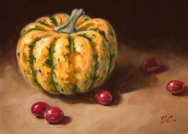 """Gourd With Cranberries"" original fine art by David Capalungan"