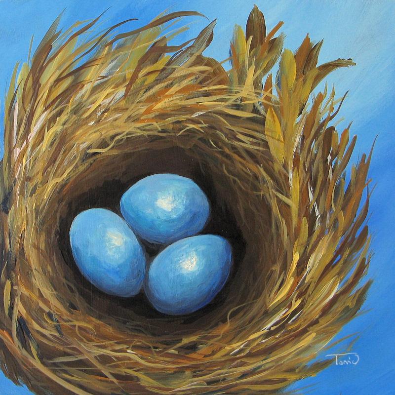 """Robin's Three Eggs IV"" original fine art by Torrie Smiley"