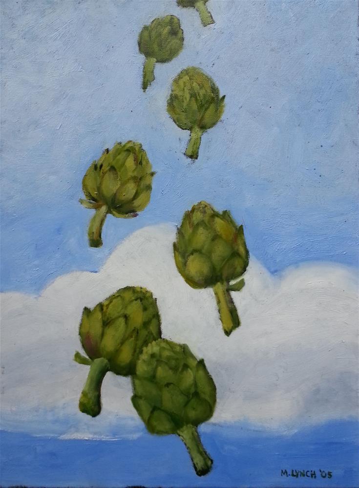 """""""Flying Artichoke"""" original fine art by Marie Lynch"""