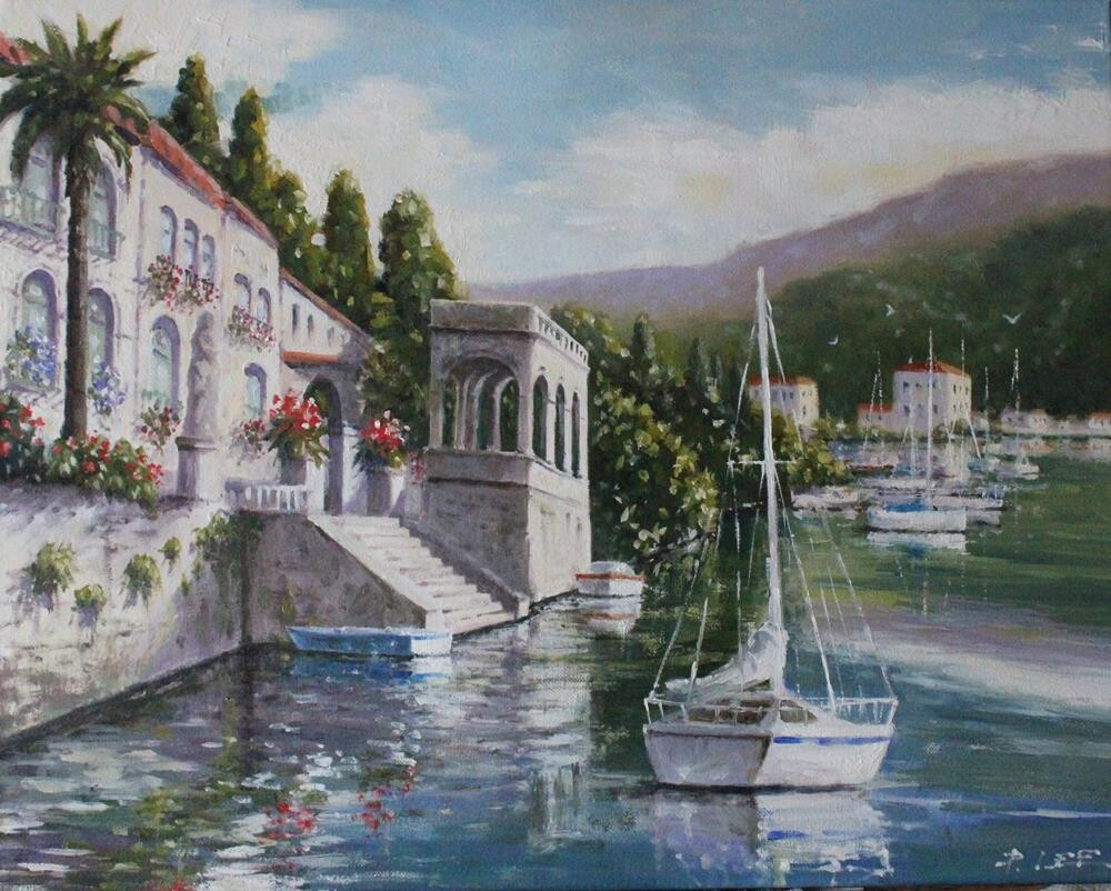 """Lake Como"" original fine art by Peter Lee"