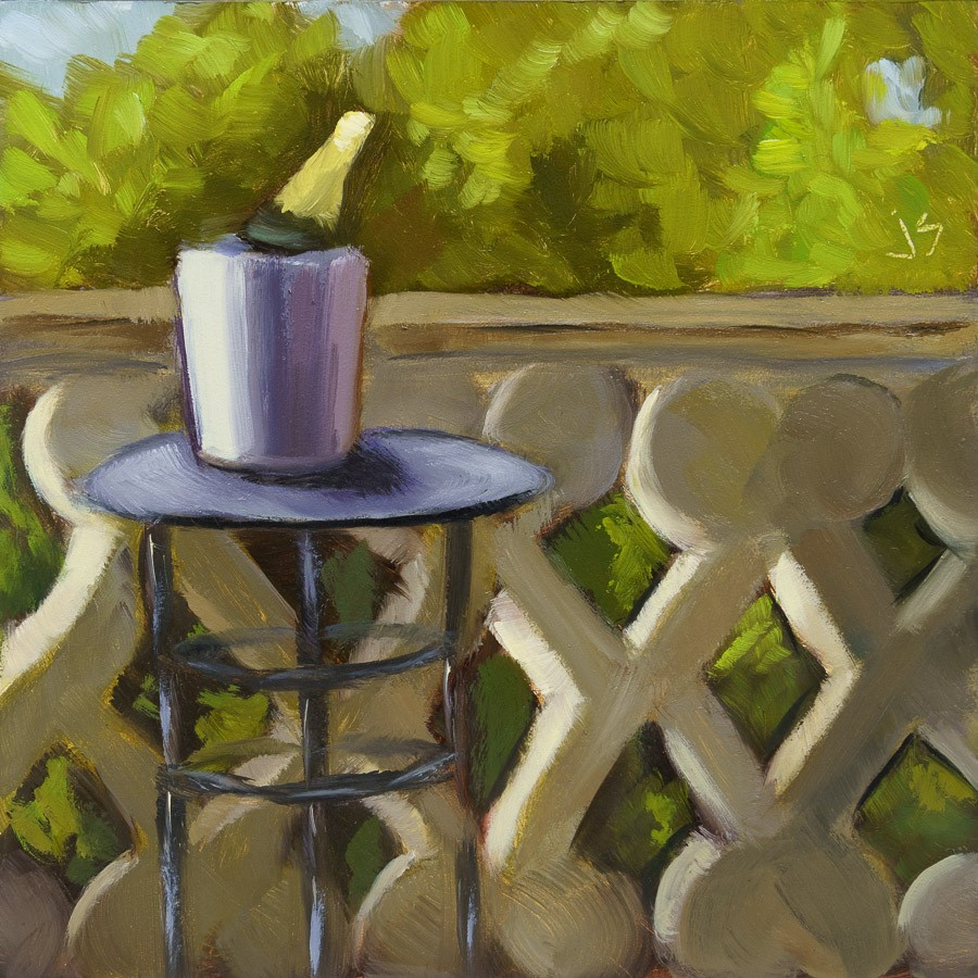 """Inside-Out: La Terrasse"" original fine art by Johnna Schelling"