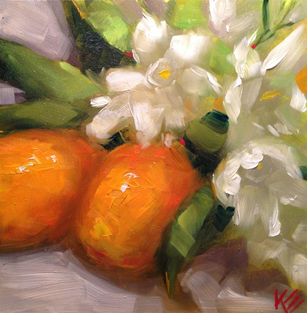 """Gift from the Heart ( orange kumquats & paper whites)"" original fine art by Krista Eaton"
