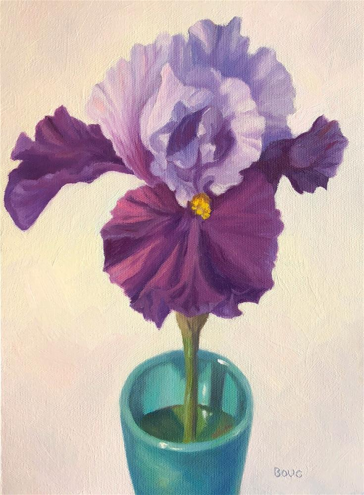 """Purple Bearded Iris in an Aqua Cup"" original fine art by Jana Bouc"