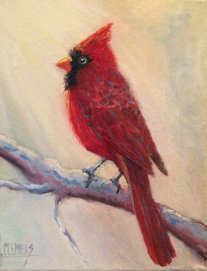 """""""Male cardinal -"""" original fine art by Jolynn Clemens"""