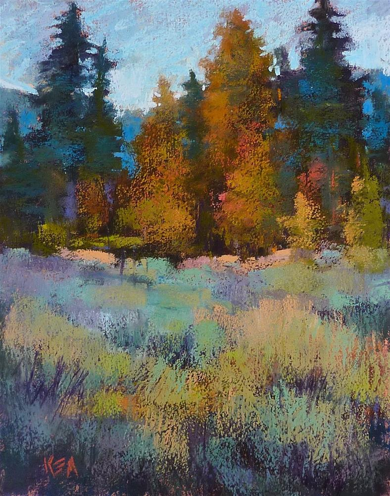 """Pastel Demo....Trees and Sagebrush on Mystery Paper"" original fine art by Karen Margulis"