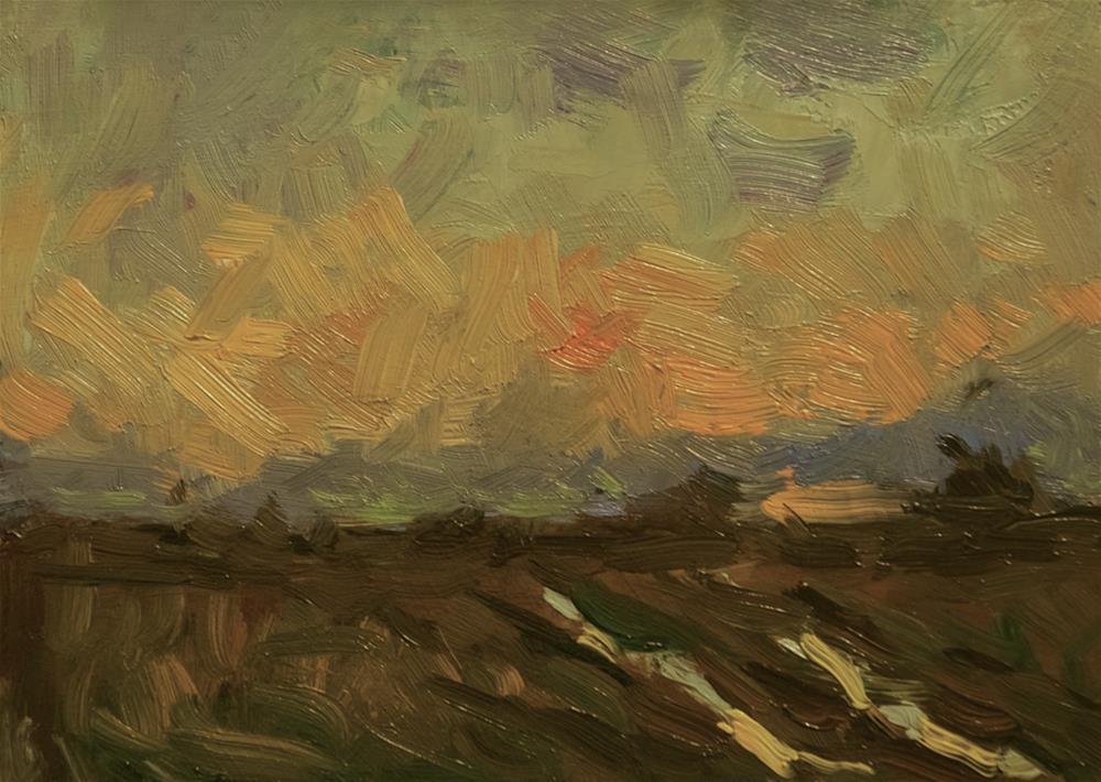 """Orange Sky with Track"" original fine art by Andre Pallat"