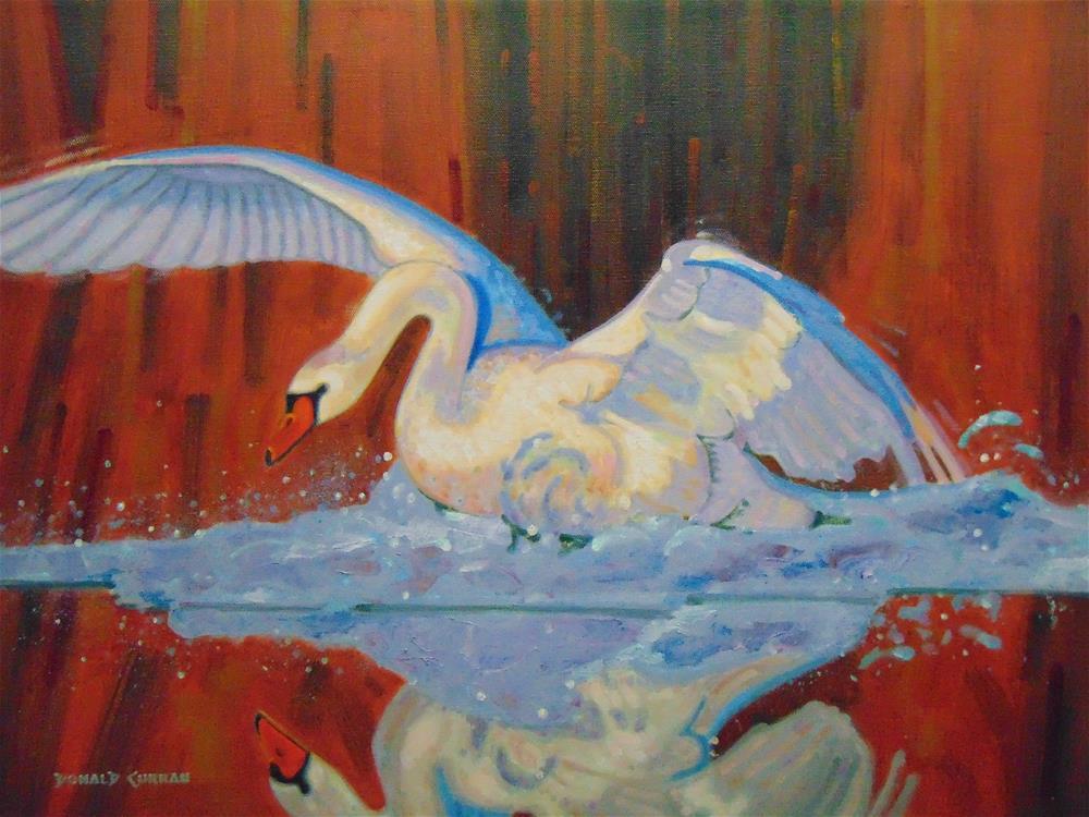 """Gold Swan"" original fine art by Donald Curran"