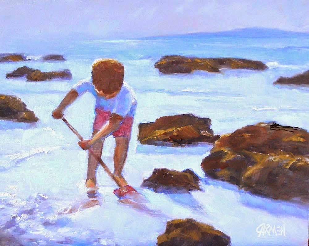 """Praia Beach, 10x8 Oil Painting on Canvas Panel"" original fine art by Carmen Beecher"