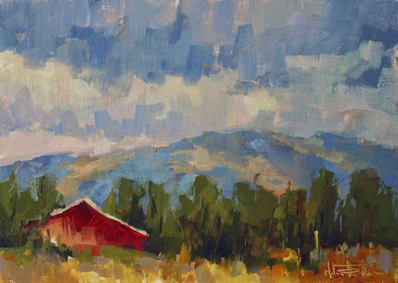 """""""Blue Day Red Barn"""" original fine art by Melanie Thompson"""