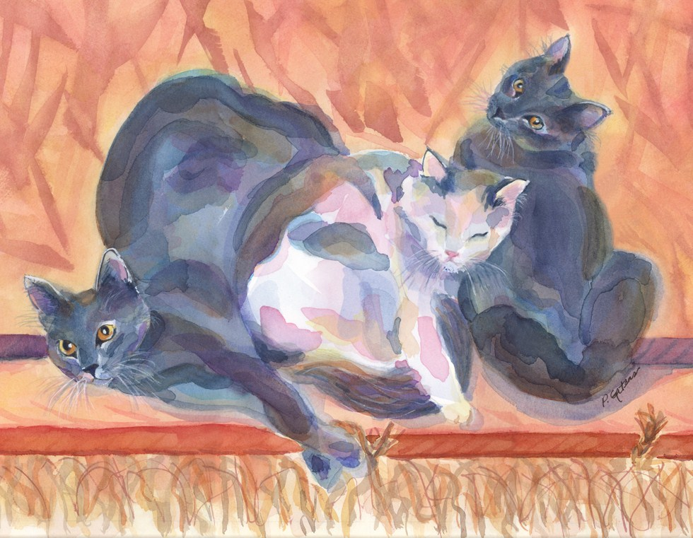 """Cat Sandwich"" original fine art by Pamela Gatens"