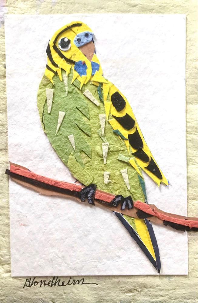 """Parakeet Collage"" original fine art by Linda Blondheim"