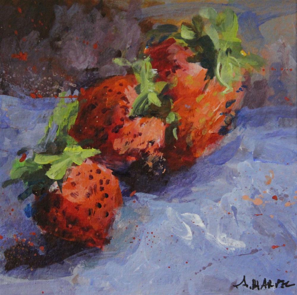 """Original acrylic strawberry food art still life "" original fine art by Alice Harpel"