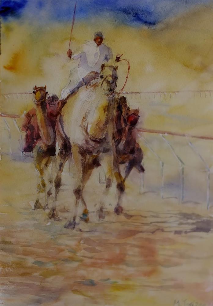 """""""Al Ain Camel race track 6/10"""" original fine art by Midori Yoshino"""