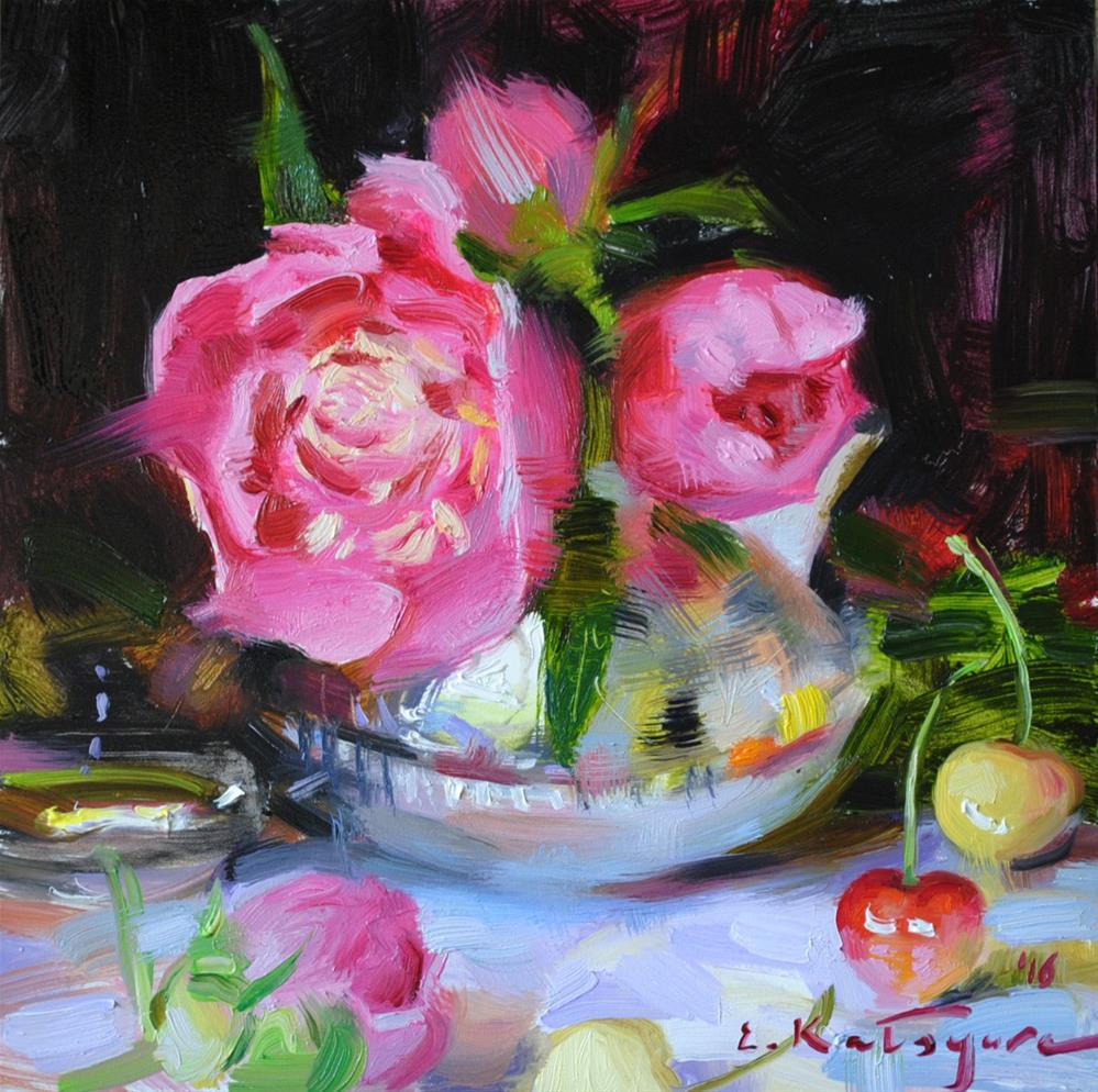 """""""Cherries and Peonies"""" original fine art by Elena Katsyura"""