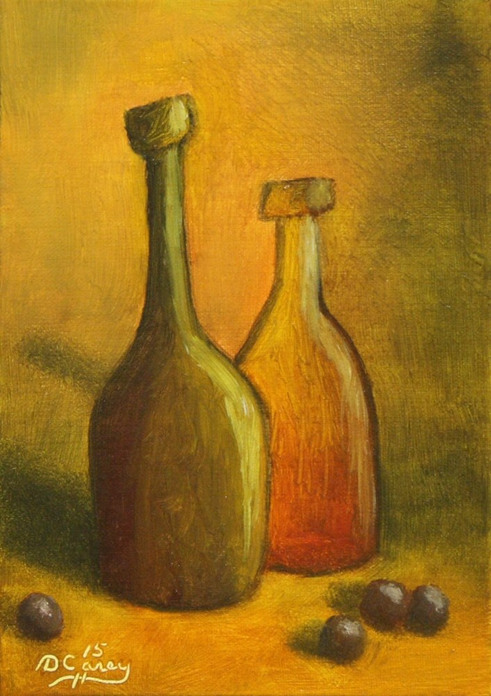 """Abstract Bottles 002a 7x5 oil on linen panel - The Daily Painter"" original fine art by Dave Casey"