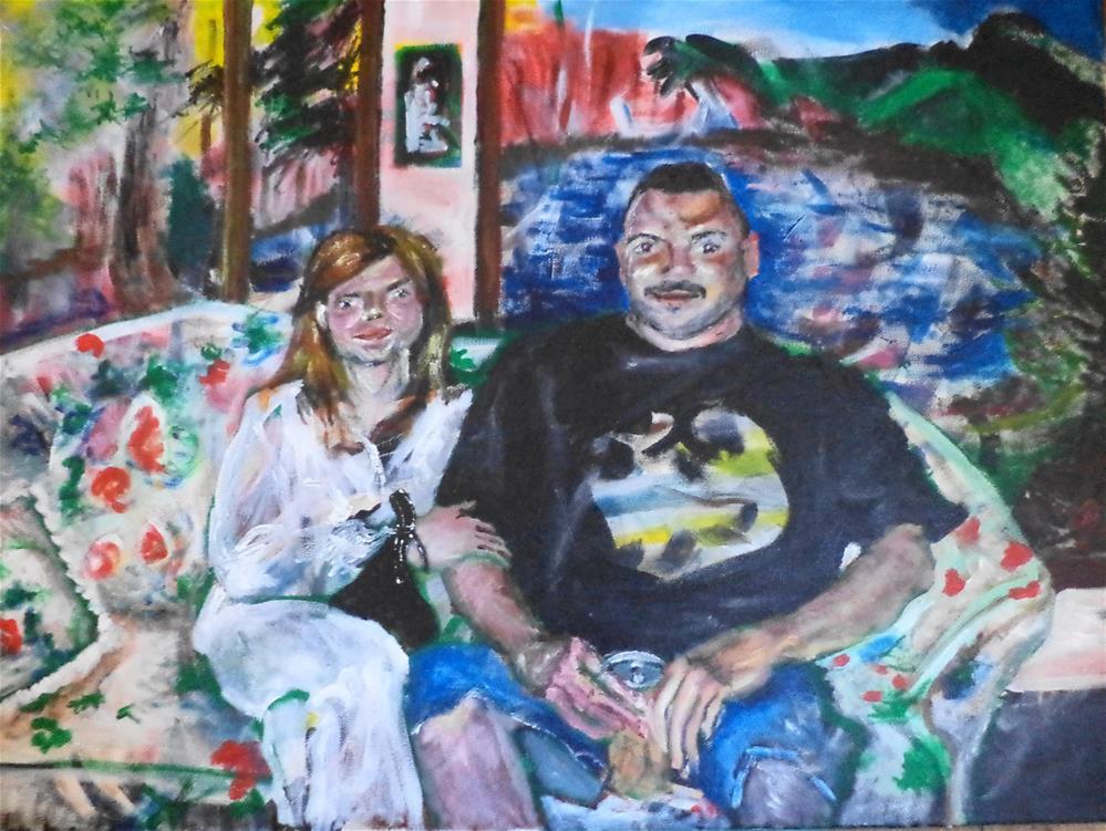 """Portrait of a couple in their living room"" original fine art by tara stephanos"