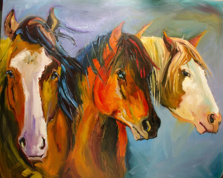 """THREE KINGS LARGE HORSE EQUINE DIANE WHITEHEAD FINE ART"" original fine art by Diane Whitehead"