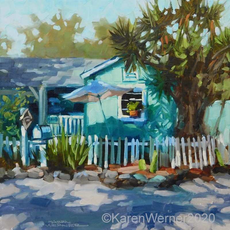"""Capistrano Cottage"" original fine art by Karen Werner"