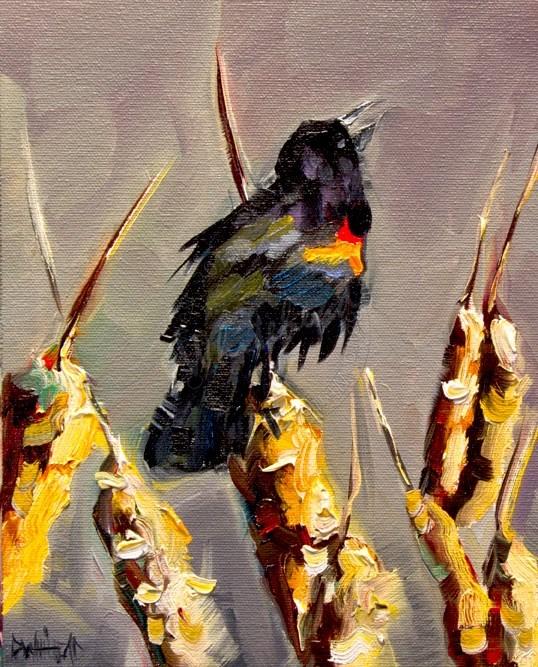 """ARTOUTWEST BLACK BIRD CATTAIL ANIMAL ART WILDLIFE OIL PAINTING by Diane Whitehead"" original fine art by Diane Whitehead"