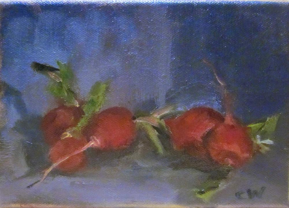 """Radishes on Blue Background, DP #12"" original fine art by Carol Wiley"