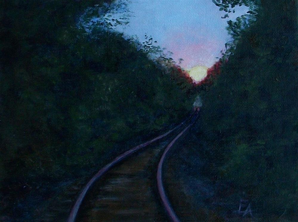 """30 in 30  Challenge: Train Track Glow"" original fine art by Elizabeth Elgin"