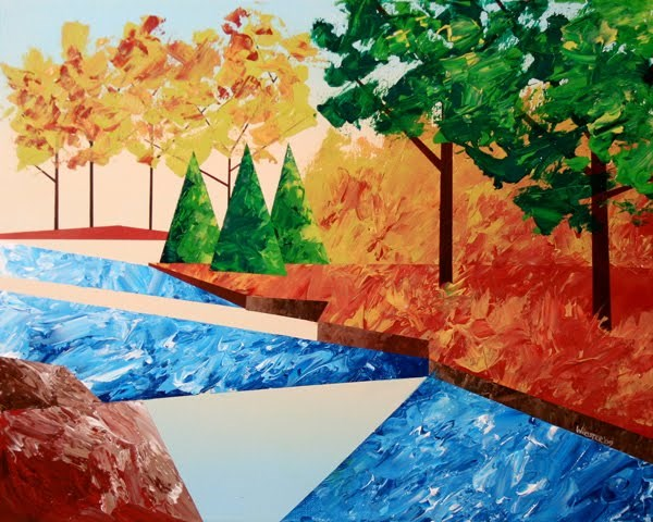 """""""Mark Webster - Abstract Autumn River Landscape Acrylic Painting"""" original fine art by Mark Webster"""