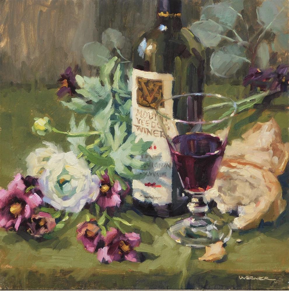 """""""Wine For One"""" original fine art by Karen Werner"""