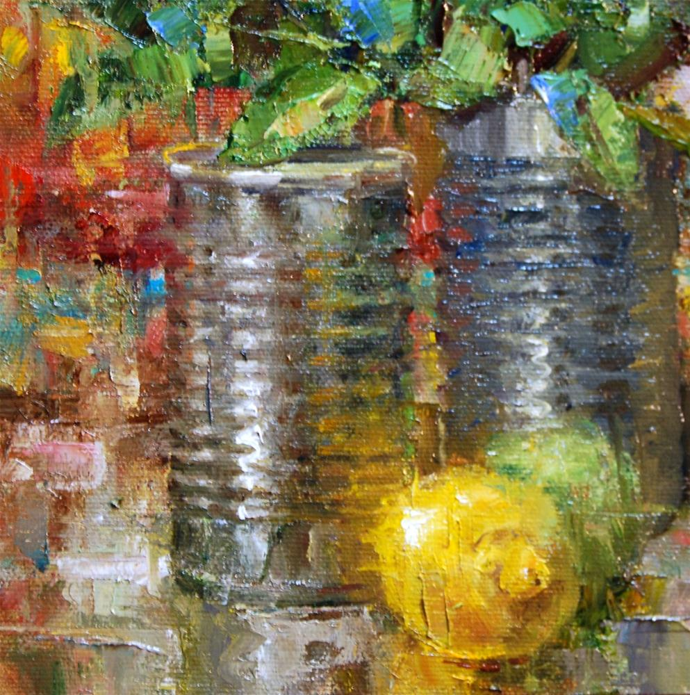 """""""Lemon with Cans"""" original fine art by Julie Ford Oliver"""