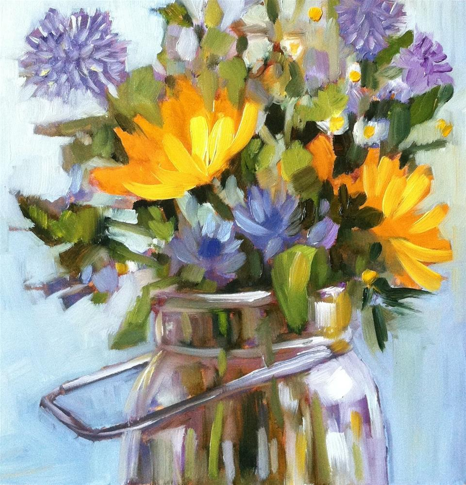 """""""Sunny Blue and Yellow"""" original fine art by Libby Anderson"""