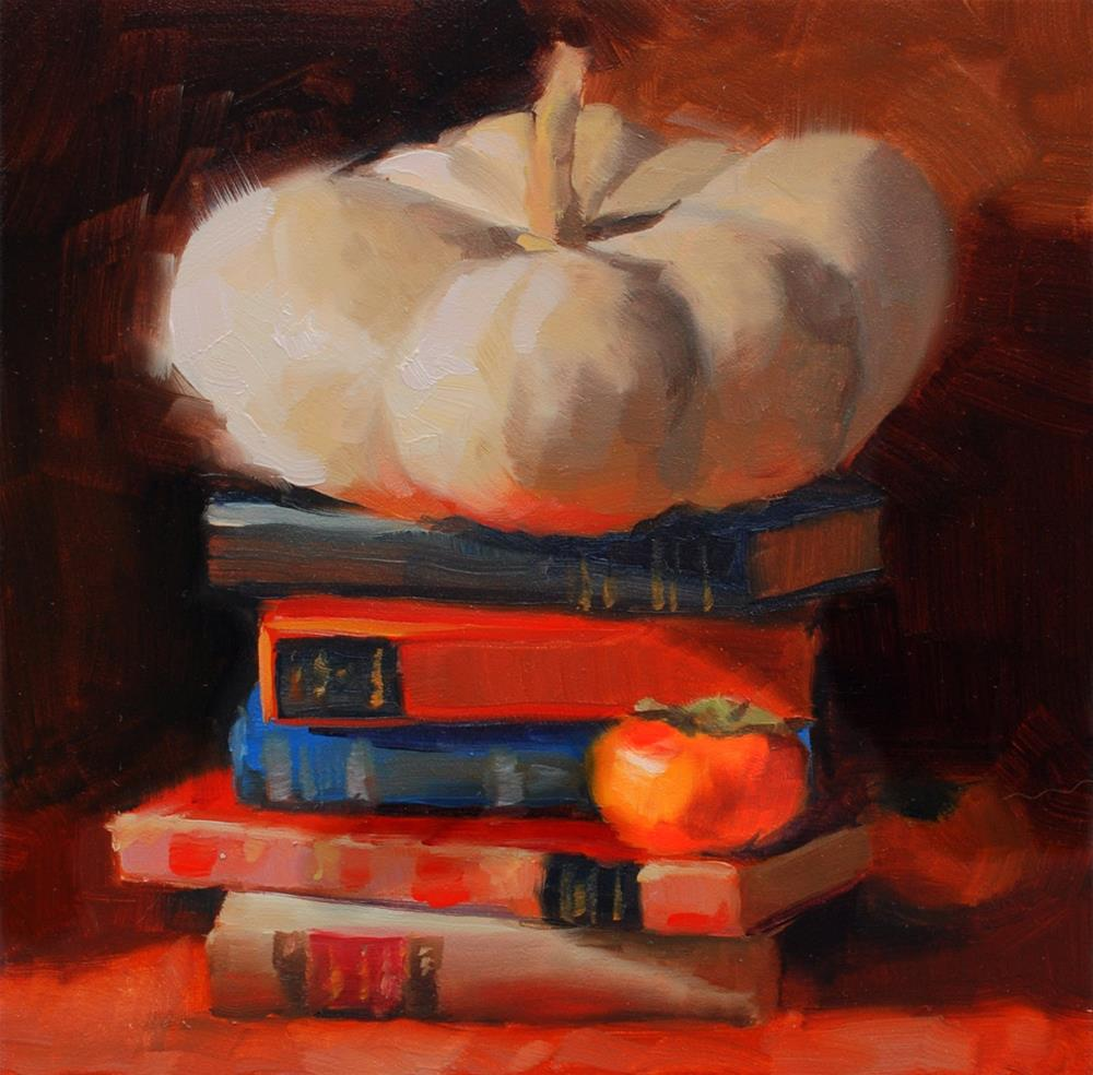 """""""No. 680 Squash, Books and a Little Persimmon"""" original fine art by Susan McManamen"""