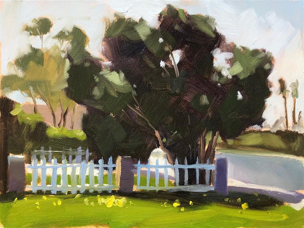 """Plein Air Clovers and Trees"" original fine art by Sharon Schock"