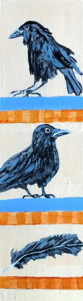"""Totem Crow"" original fine art by Linda Blondheim"