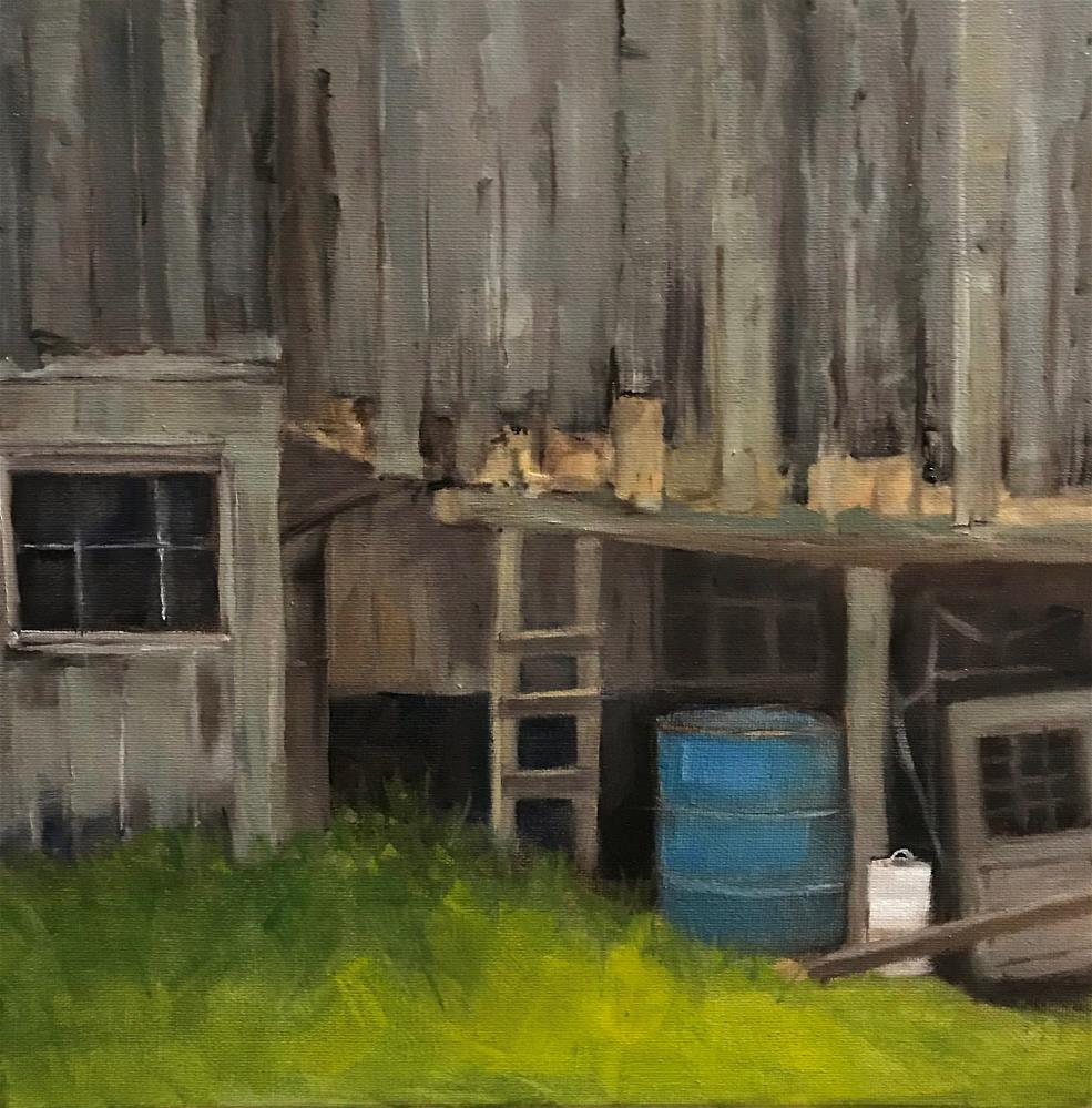 """Blue can under the old shed"" original fine art by Betty Argiros"