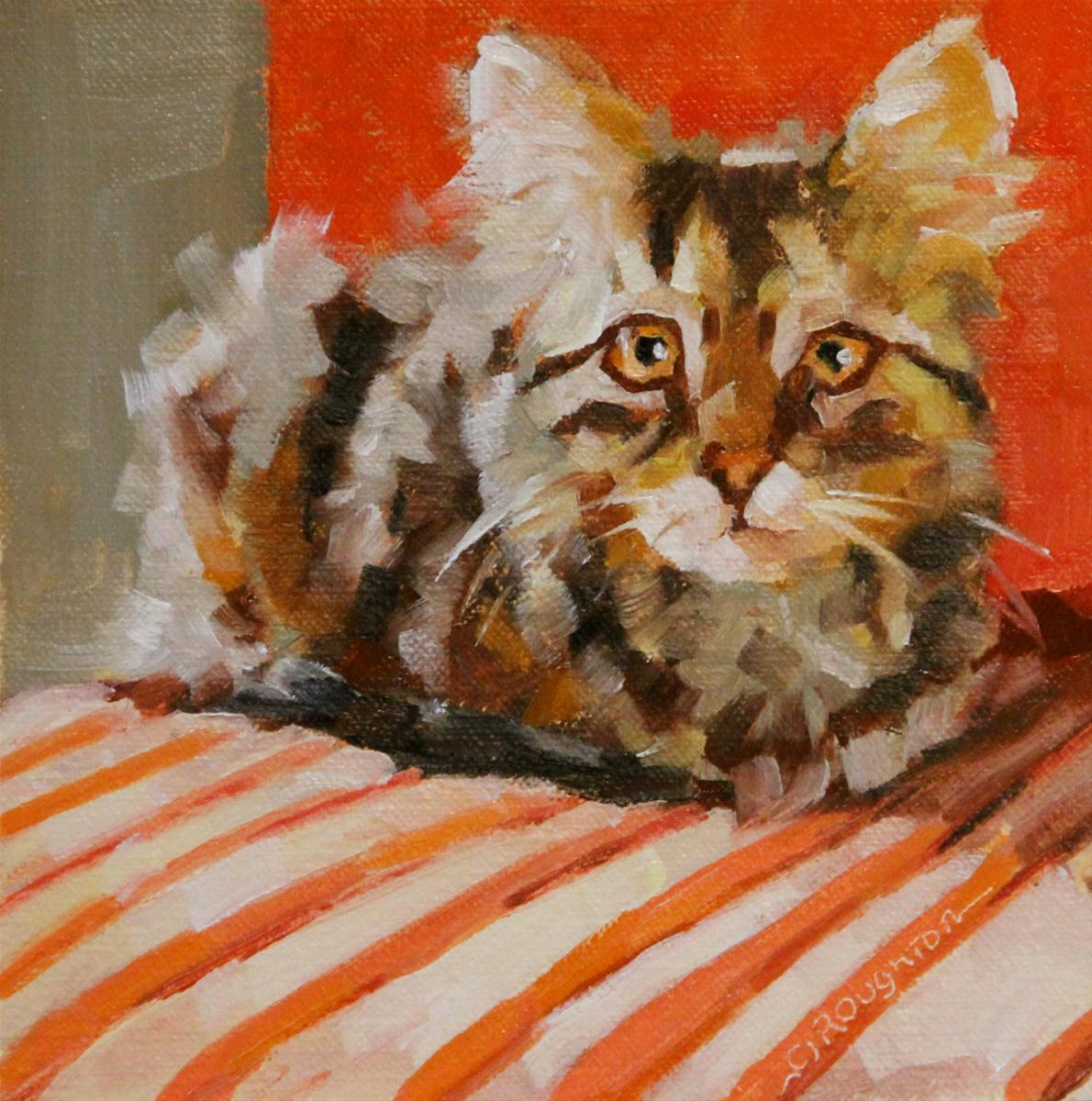 """""""The Whole Kitty Challenge"""" original fine art by C J Roughton"""