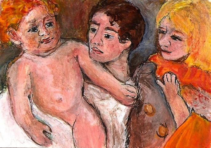 """""""ACEO After The Bath Inspired by Mary Cassatt Miniature Painting Penny StewArt"""" original fine art by Penny Lee StewArt"""