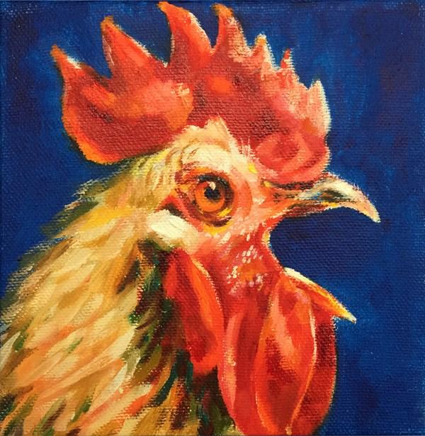 """rooster05"" original fine art by Joy Cai"