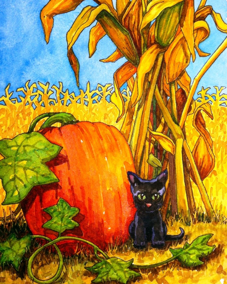 """HARVEST KITTY"" original fine art by Kristy Tracy"