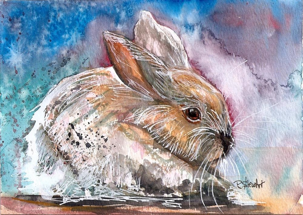 """""""5x7 White Rabbit Watercolor, Pen and Ink Mixed Media by Penny Lee StewArt"""" original fine art by Penny Lee StewArt"""