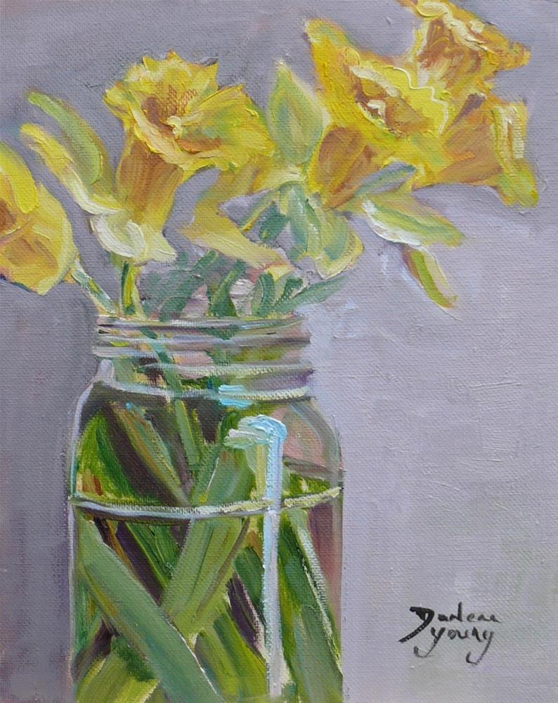 """""""1101 Daffodils in a Jar, 8x10, oil on board"""" original fine art by Darlene Young"""
