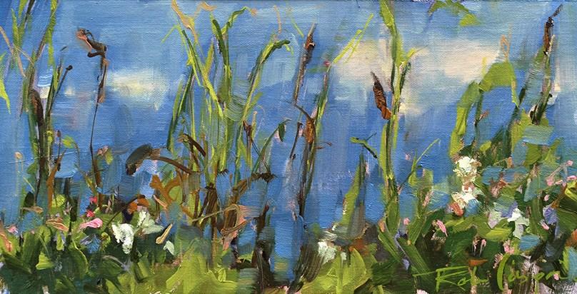 """""""Cattails"""" original fine art by Robin Caspari"""