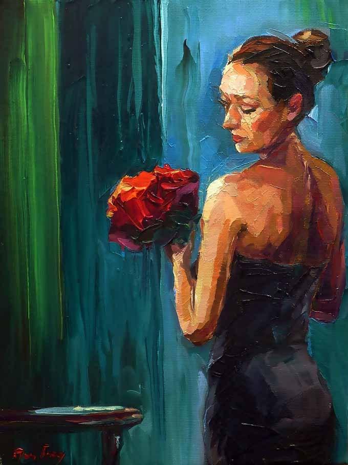 """""""Flowers in the evening"""" original fine art by Jurij Frey"""