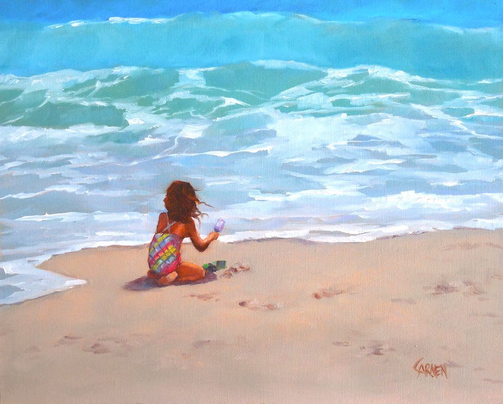 """""""Happiness, 10x8 Oil Painting on Canvas Panel, Seascape with Figure"""" original fine art by Carmen Beecher"""