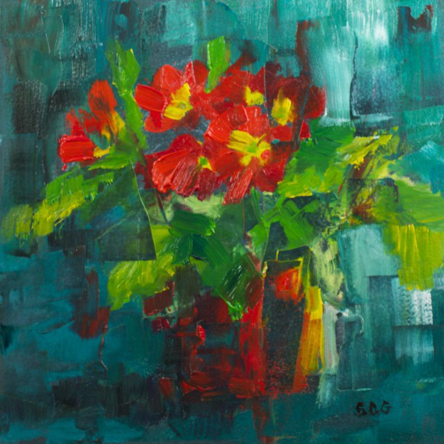 """Fractured Primroses:"" original fine art by Sue Churchgrant"