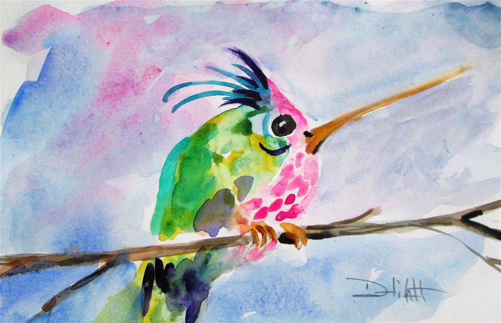 """Pink Belled Hummingbird"" original fine art by Delilah Smith"