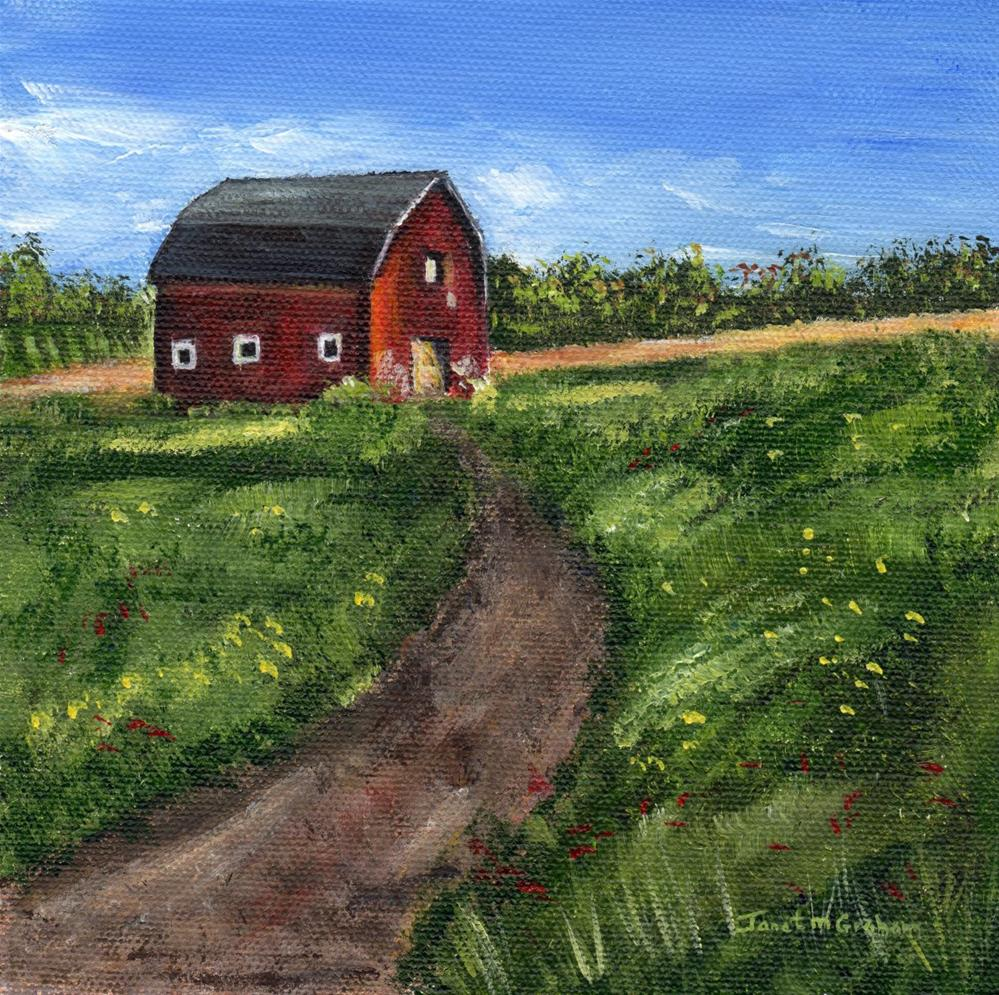 """Red Barn"" original fine art by Janet Graham"
