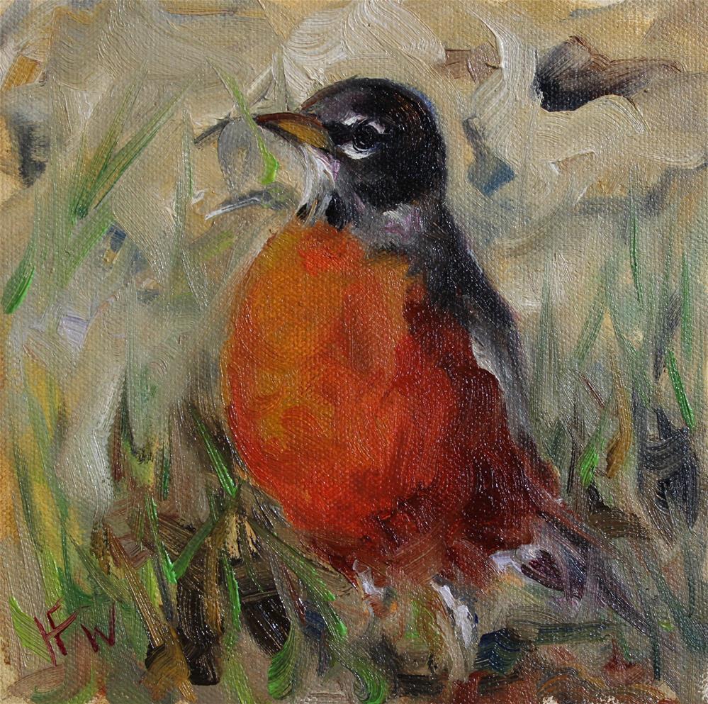 """Spring Robin"" original fine art by H.F. Wallen"