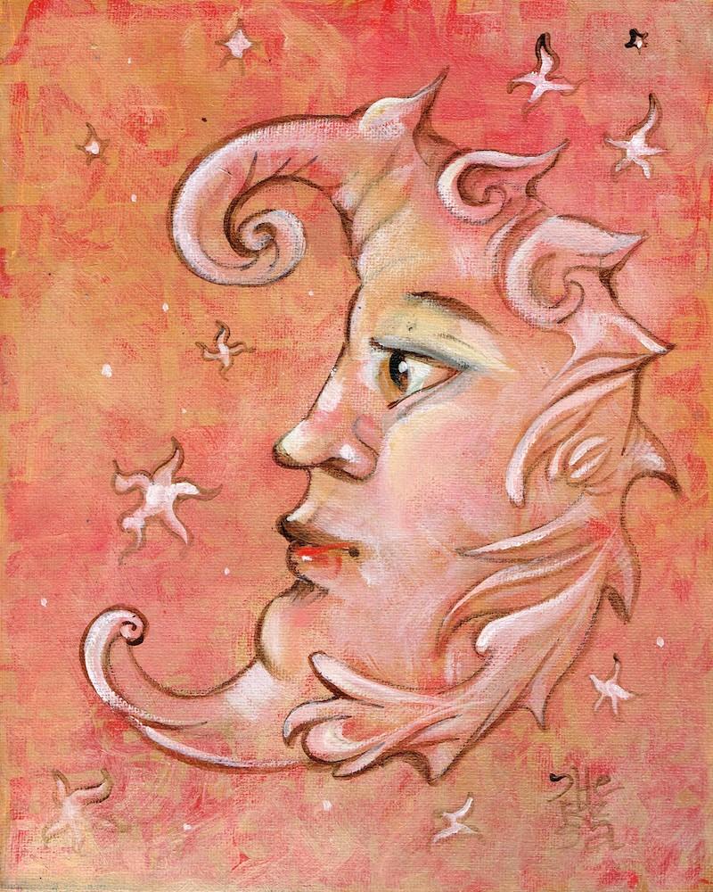 """Fun Crescent Moon"" original fine art by Theresa Taylor Bayer"